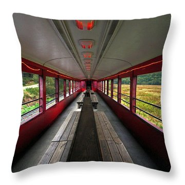 Throw Pillow featuring the photograph All Aboard Tioga Central Railroad by Suzanne Stout