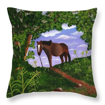 Throw Pillow featuring the painting All Alone by Laura Forde