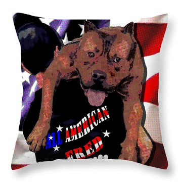 Throw Pillow featuring the digital art All American Fred by Jann Paxton