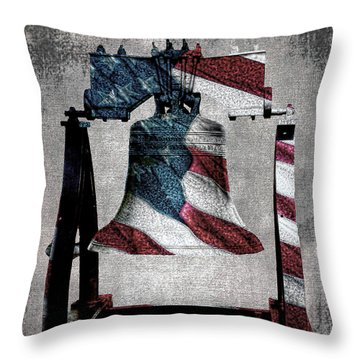 All American Liberty Bell Art_denim Throw Pillow