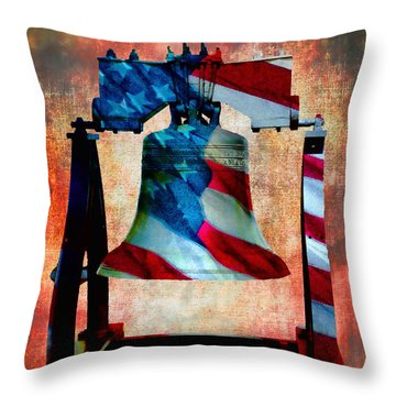 Liberty Bell Art Smooth All American Series Throw Pillow