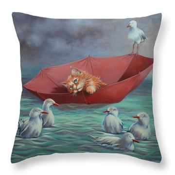 Throw Pillow featuring the painting All At Sea by Cynthia House