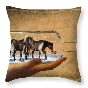 All Bottled Up Throw Pillow by Davandra Cribbie