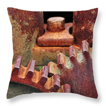 All Geared Up Throw Pillow by Mike Martin