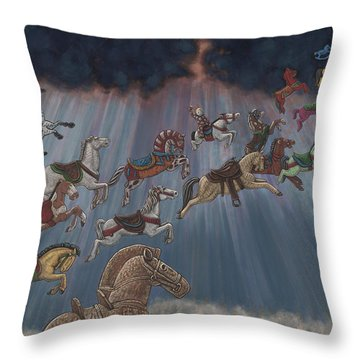 All Good Horses Go To Heaven Throw Pillow by Holly Wood