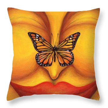 Throw Pillow featuring the painting All In The Moment by Anna Skaradzinska