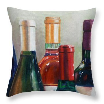 All Lined Up Throw Pillow by Donna Tuten