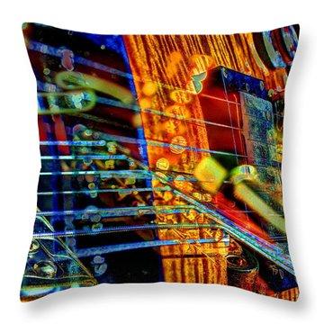 Throw Pillow featuring the photograph All Mixed Up Digital Guitar Art By Steven Langston by Steven Lebron Langston
