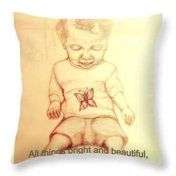 Throw Pillow featuring the drawing All Things Bright And Beautiful See The Swallowtail Butterfly by Kimberlee Baxter