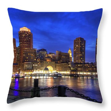 All Quiet In Boston Harbor Throw Pillow by Joann Vitali