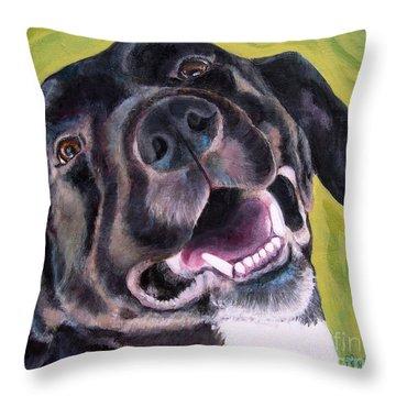 All Smiles Black Dog Throw Pillow