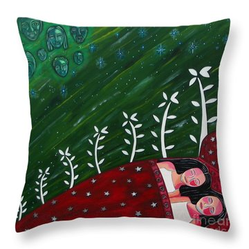 All Sown Up Throw Pillow by Sandra Marie Adams
