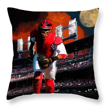 Throw Pillow featuring the photograph All Star Yadier Molina by John Freidenberg