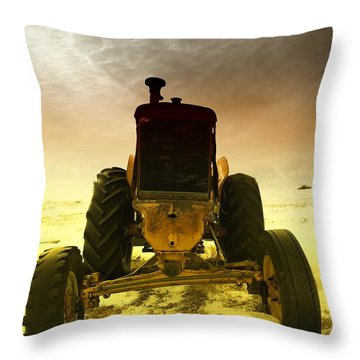 All The Feilds She Plowed Throw Pillow by Jeff Swan