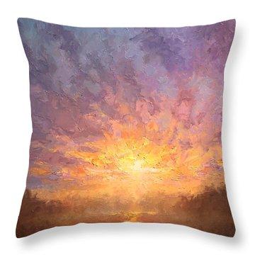 Impressionistic Sunrise Landscape Painting Throw Pillow