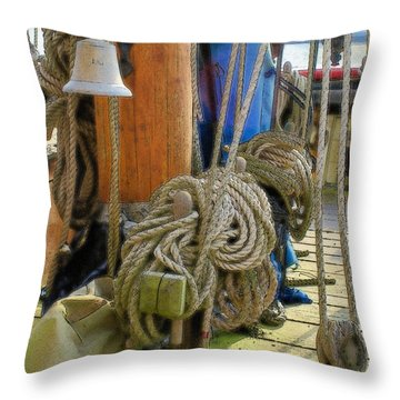 Throw Pillow featuring the digital art All Tied Up by Ron Harpham