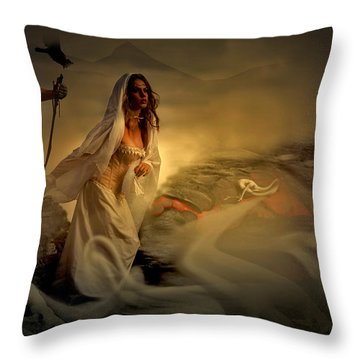 Throw Pillow featuring the digital art Allegory Fantasy Art by Galen Valle