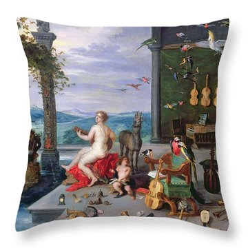 Allegory Of Music Oil On Canvas Throw Pillow