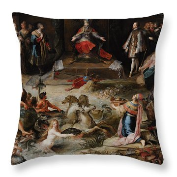 Allegory Of The Abdication Of Emperor Charles V In Brussels, C.1630-1640, By Frans Francken Throw Pillow
