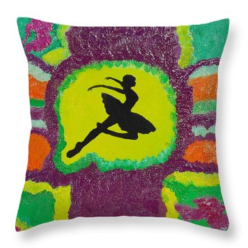 Throw Pillow featuring the painting Allegro Attitude by Margaret Harmon