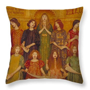 Throw Pillow featuring the painting Alleluia by Thomas Cooper Gotch