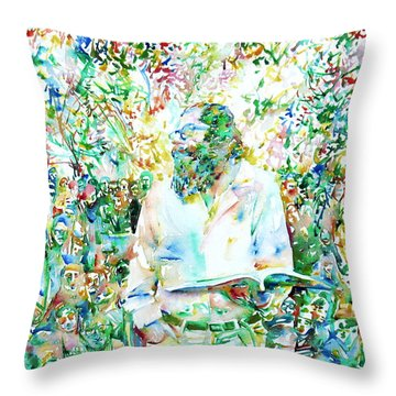 Allen Ginsberg Reading At The Park Throw Pillow