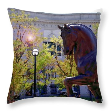 Allentown Pa Old Lehigh County Courthouse And Davinci Horse  Throw Pillow by Jacqueline M Lewis
