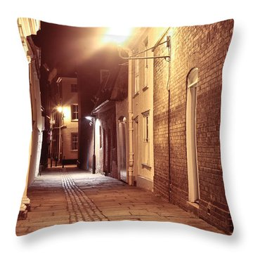 Alley At Night Throw Pillow by Tom Gowanlock