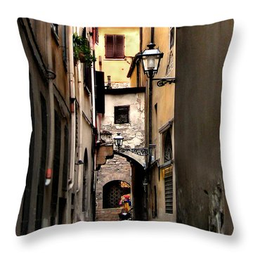 Throw Pillow featuring the photograph Alley In Florence 1 by Jennie Breeze