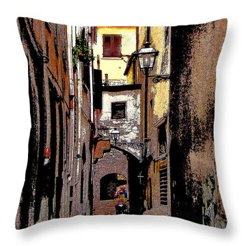Throw Pillow featuring the digital art Alley In Florence 2 Digitized by Jennie Breeze