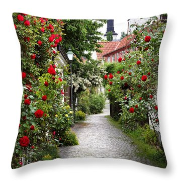 Alley Of Roses Throw Pillow