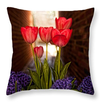 Alley Tulips In Detail Throw Pillow