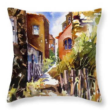 Throw Pillow featuring the painting Alleyway Charm 2 by Rae Andrews