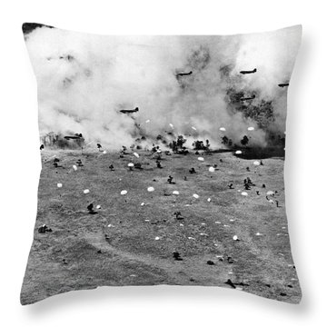 Allied Forces Parachute Drop Throw Pillow