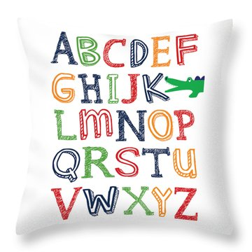 Alligator Abc Poster Throw Pillow