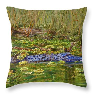 Alligator Pod Throw Pillow