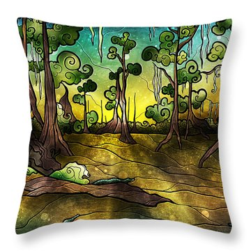 Alligator Swamp Throw Pillow