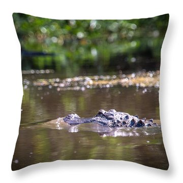 Alligator Swimming In Bayou 1 Throw Pillow