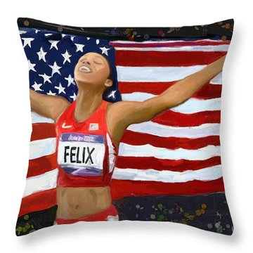 Allison Felix Olympian Gold Metalist Throw Pillow by Vannetta Ferguson