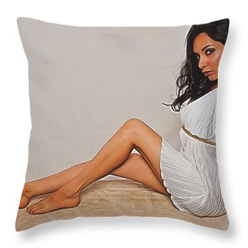 Throw Pillow featuring the photograph Allison Sitting  ... by Chuck Caramella