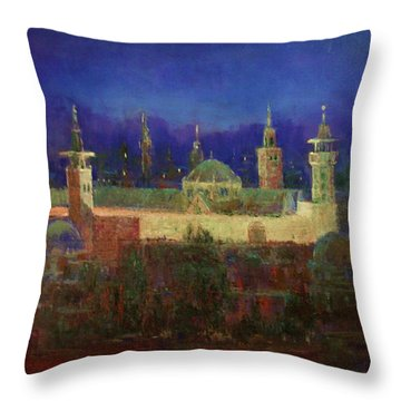 Almasjed Alamawe At Night - Damascus - Syria Throw Pillow