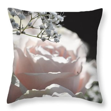 Almost White Roses Throw Pillow