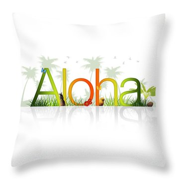 Aloha - Hawaii Throw Pillow by Aged Pixel
