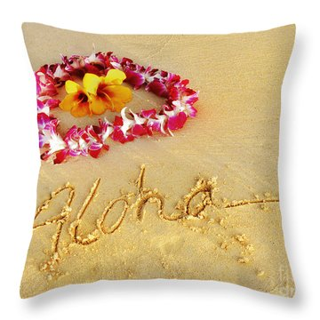 Aloha Lei Throw Pillow