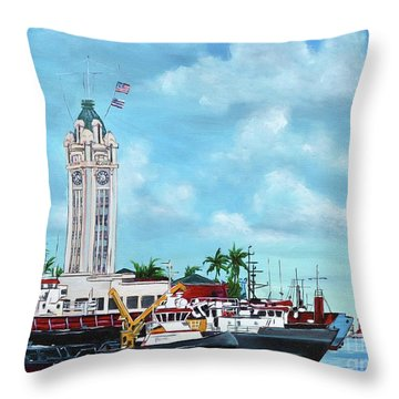 Aloha Tower Throw Pillow