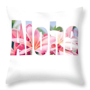 Aloha Tropical Plumeria Typography Throw Pillow