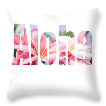 Aloha Tropical Plumeria Typography Throw Pillow