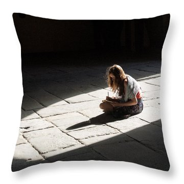 Throw Pillow featuring the photograph Alone In A Pool Of Light by Alex Lapidus