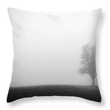 Alone In The Fog - Bw Throw Pillow by Hannes Cmarits