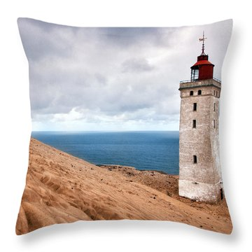 Lighthouse On The Sand Hils Throw Pillow